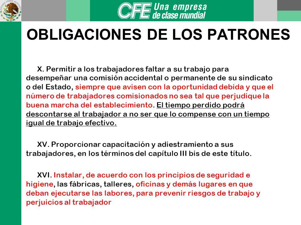 OBLIGACIONES DE LOS PATRONES IV. Proporcionar local seguro para la guarda de los instrumentos y útiles de trabajo pertenecientes al trabajador V. Mant