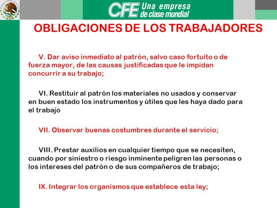 OBLIGACIONES DE LOS TRABAJADORES Art. 134 I. Cumplir las disposiciones de las normas de trabajo que les sean aplicables; II. Observar las medidas prev