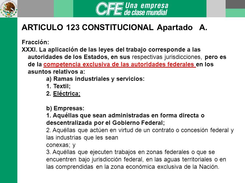 ARTICULO 123 CONSTITUCIONAL Apartado A.Fracción: XXXI.
