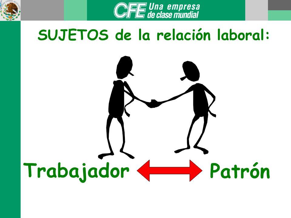 SUJETOS de la relación laboral: Trabajador Patrón