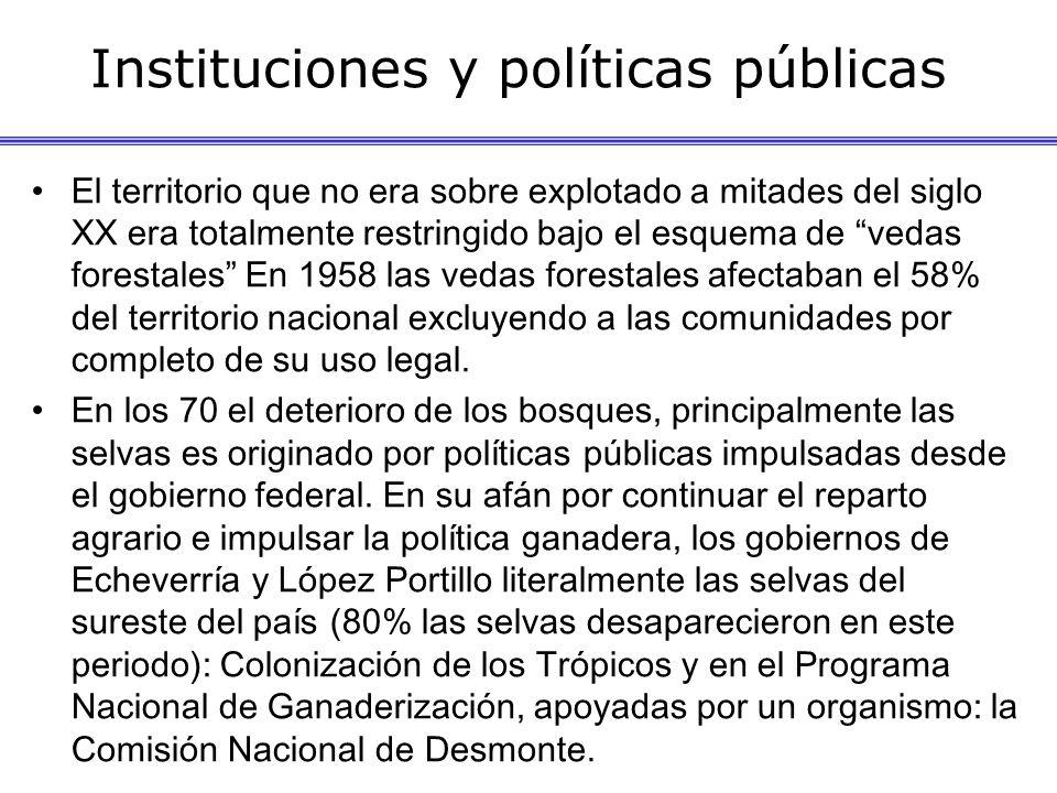 Instituciones y políticas públicas El territorio que no era sobre explotado a mitades del siglo XX era totalmente restringido bajo el esquema de vedas