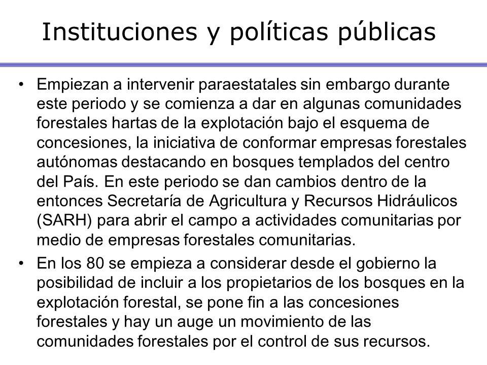 Instituciones y políticas públicas Empiezan a intervenir paraestatales sin embargo durante este periodo y se comienza a dar en algunas comunidades for