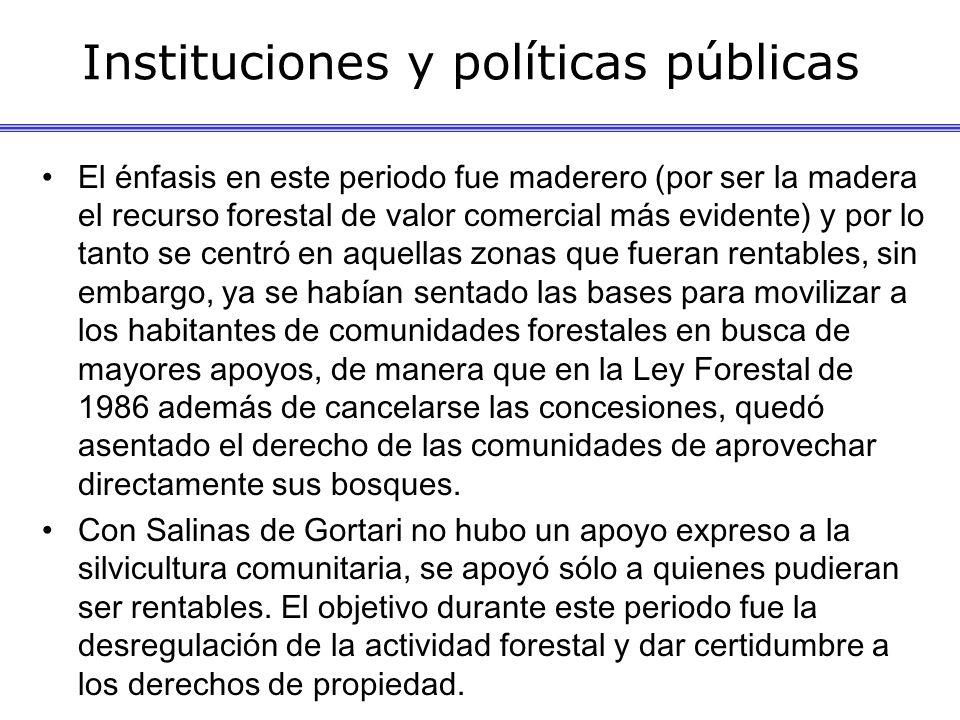 Instituciones y políticas públicas El énfasis en este periodo fue maderero (por ser la madera el recurso forestal de valor comercial más evidente) y p