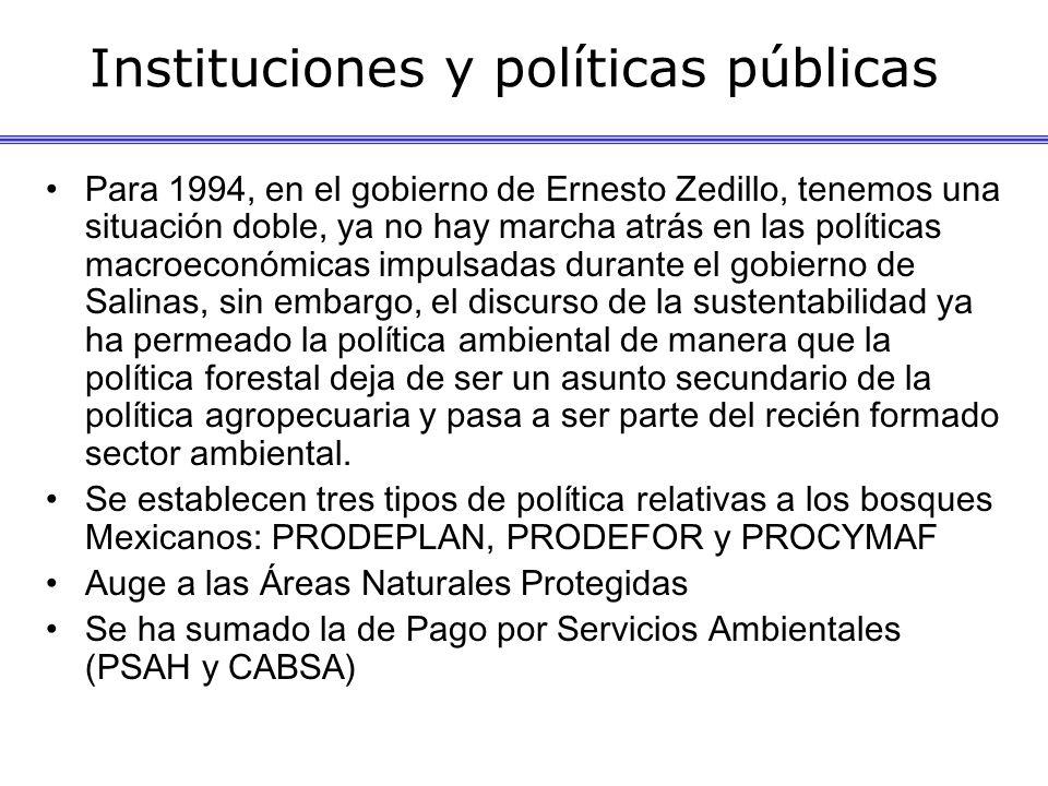 Instituciones y políticas públicas Para 1994, en el gobierno de Ernesto Zedillo, tenemos una situación doble, ya no hay marcha atrás en las políticas