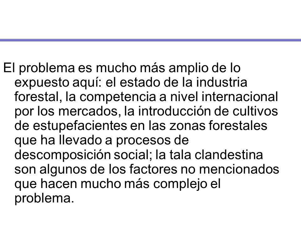 El problema es mucho más amplio de lo expuesto aquí: el estado de la industria forestal, la competencia a nivel internacional por los mercados, la int