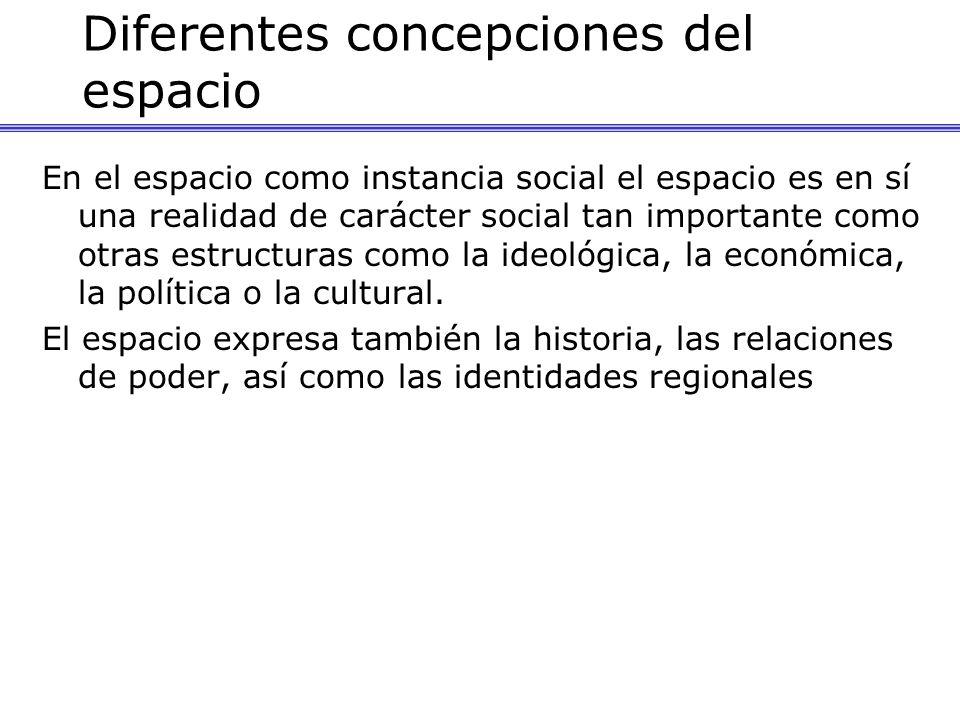 Diferentes concepciones del espacio En el espacio como instancia social el espacio es en sí una realidad de carácter social tan importante como otras estructuras como la ideológica, la económica, la política o la cultural.