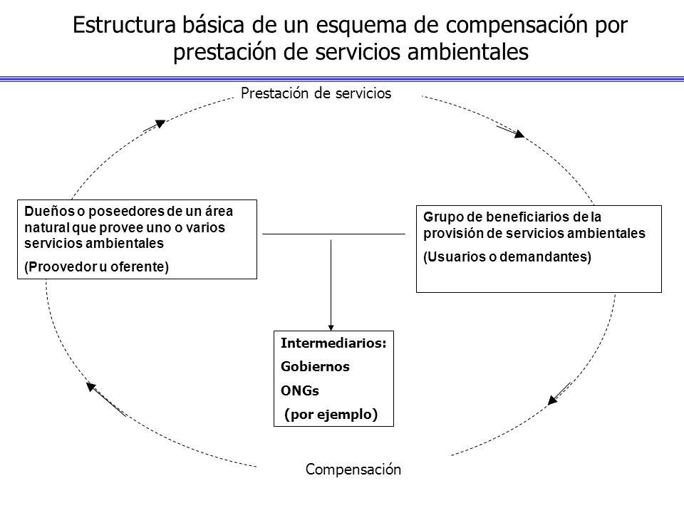 Estructura básica de un esquema de compensación por prestación de servicios ambientales Intermediarios: Gobiernos ONGs (por ejemplo) Prestación de ser