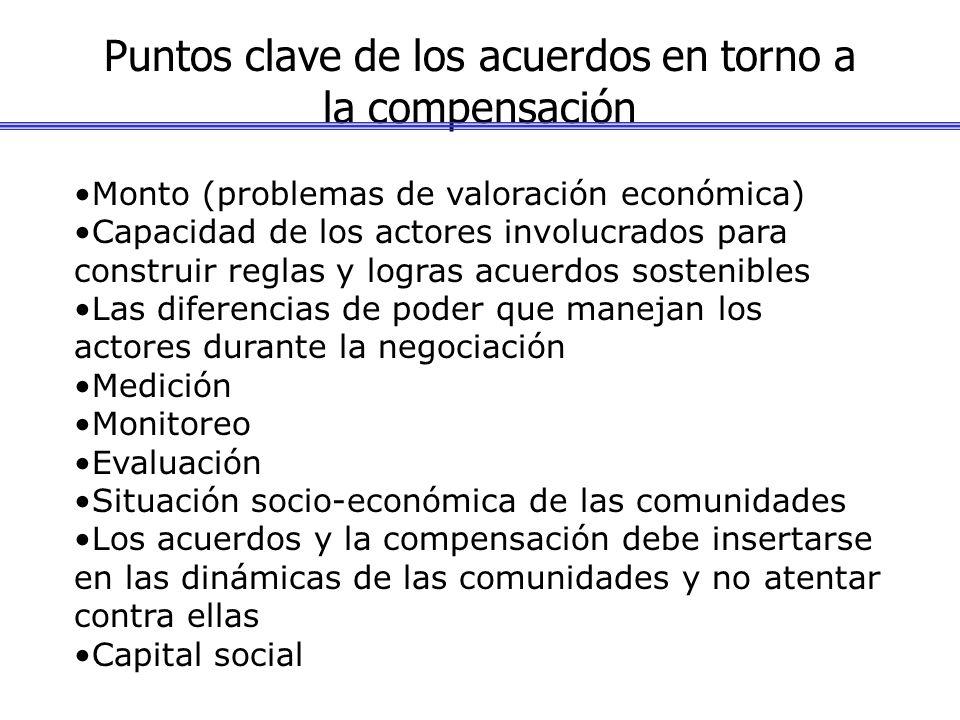 Puntos clave de los acuerdos en torno a la compensación Monto (problemas de valoración económica) Capacidad de los actores involucrados para construir