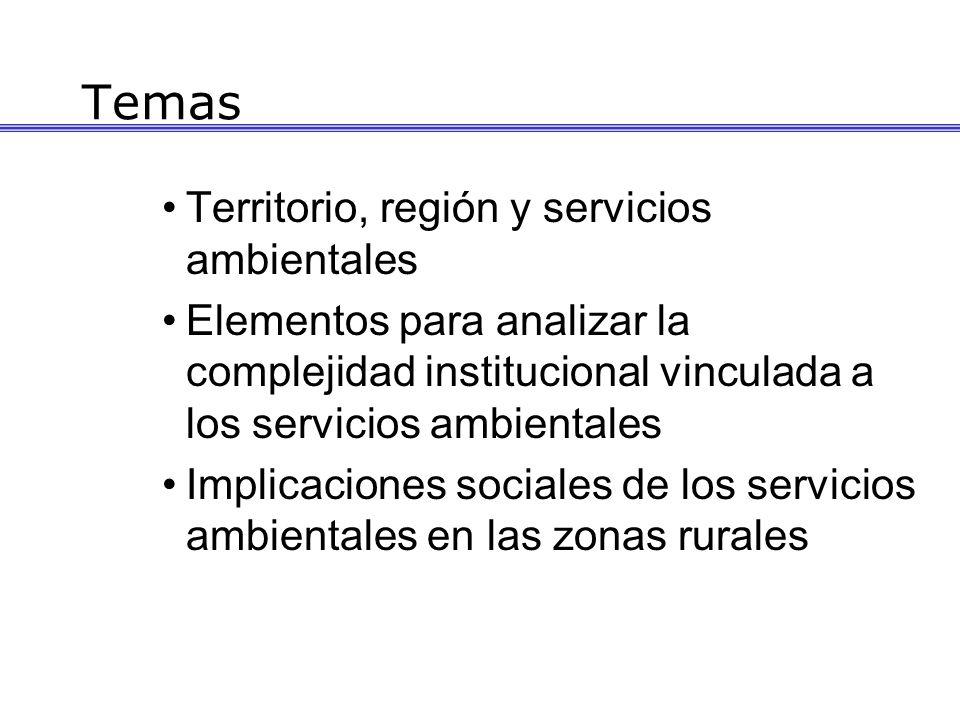 Temas Territorio, región y servicios ambientales Elementos para analizar la complejidad institucional vinculada a los servicios ambientales Implicaciones sociales de los servicios ambientales en las zonas rurales