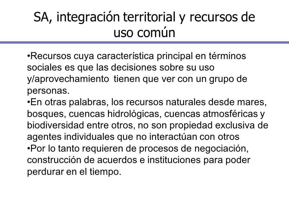 SA, integración territorial y recursos de uso común Recursos cuya característica principal en términos sociales es que las decisiones sobre su uso y/a