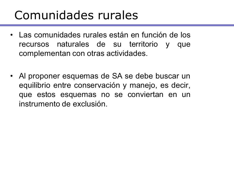 Comunidades rurales Las comunidades rurales están en función de los recursos naturales de su territorio y que complementan con otras actividades. Al p