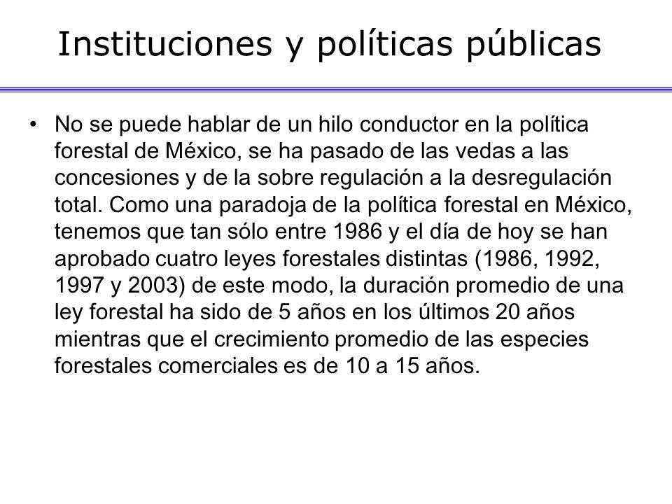 Instituciones y políticas públicas No se puede hablar de un hilo conductor en la política forestal de México, se ha pasado de las vedas a las concesiones y de la sobre regulación a la desregulación total.