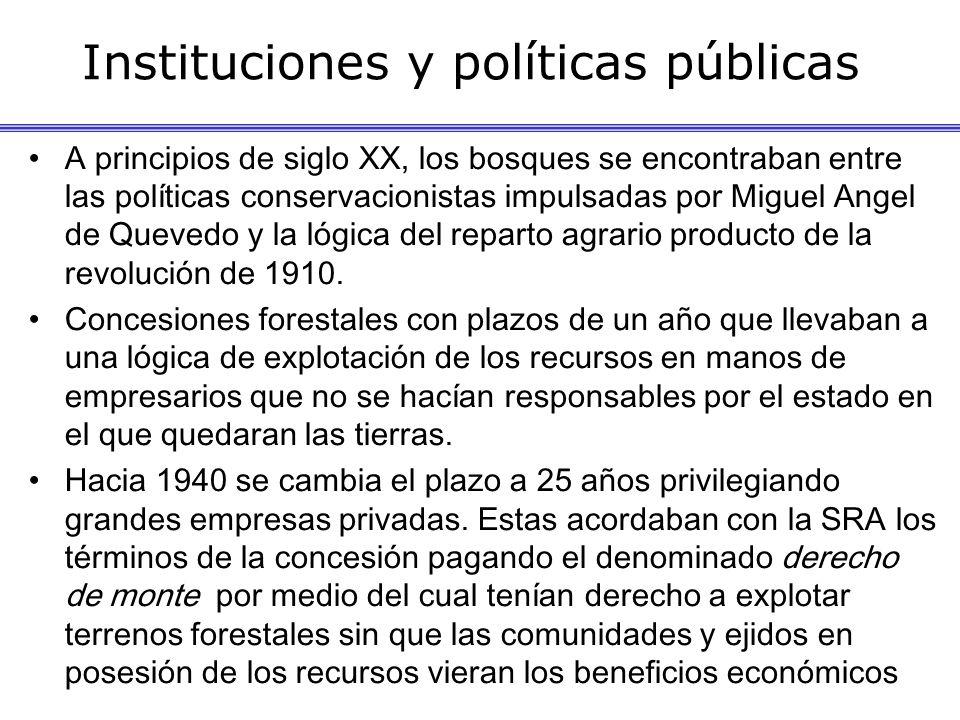 Instituciones y políticas públicas A principios de siglo XX, los bosques se encontraban entre las políticas conservacionistas impulsadas por Miguel Angel de Quevedo y la lógica del reparto agrario producto de la revolución de 1910.