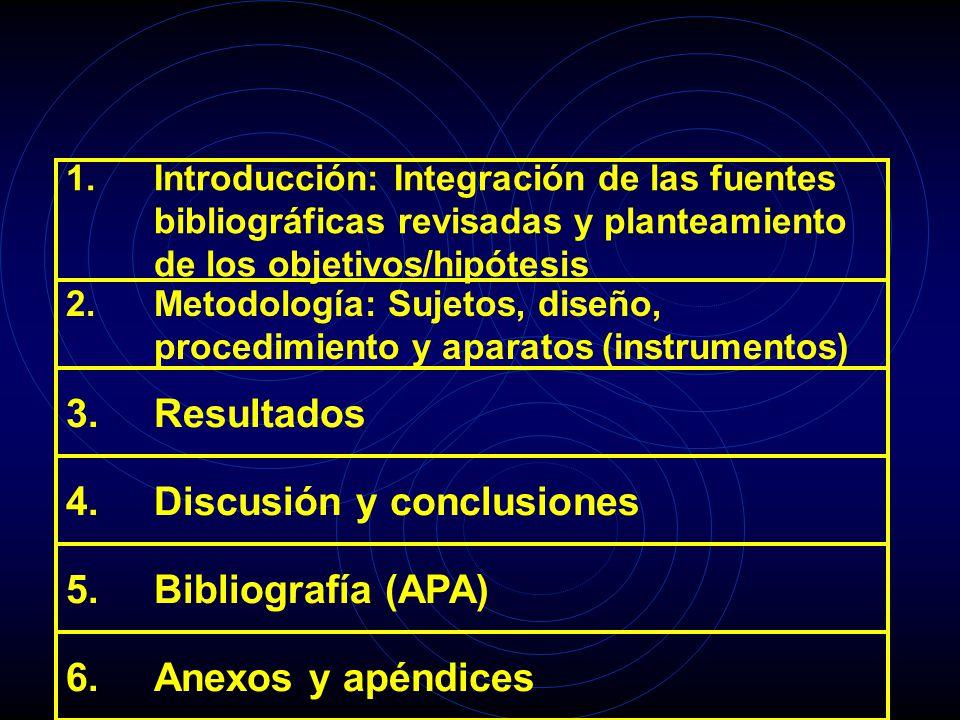 1.Introducción: Integración de las fuentes bibliográficas revisadas y planteamiento de los objetivos/hipótesis 2.Metodología: Sujetos, diseño, procedi