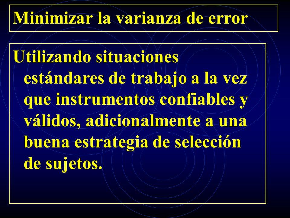 Minimizar la varianza de error Utilizando situaciones estándares de trabajo a la vez que instrumentos confiables y válidos, adicionalmente a una buena
