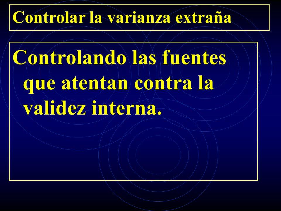 Controlar la varianza extraña Controlando las fuentes que atentan contra la validez interna.