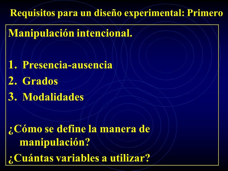 Requisitos para un diseño experimental: Primero Manipulación intencional. 1. Presencia-ausencia 2. Grados 3. Modalidades ¿Cómo se define la manera de