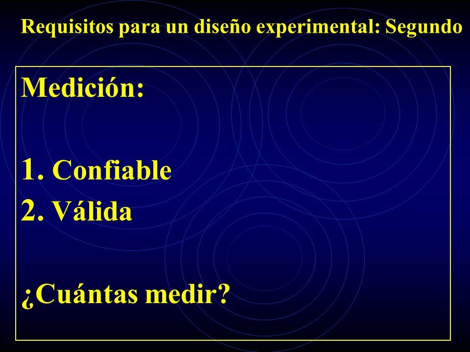 Requisitos para un diseño experimental: Segundo Medición: 1. Confiable 2. Válida ¿Cuántas medir?