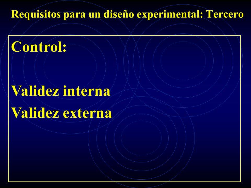 Requisitos para un diseño experimental: Tercero Control: Validez interna Validez externa