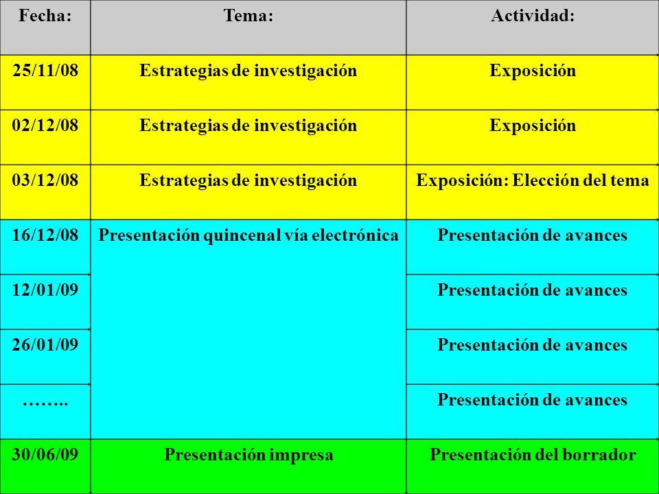 Fecha:Tema:Actividad: 25/11/08Estrategias de investigaciónExposición 02/12/08Estrategias de investigaciónExposición 03/12/08Estrategias de investigaci
