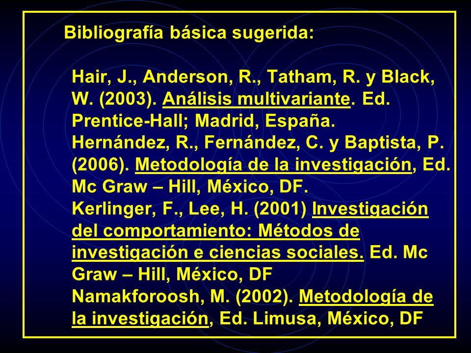 Bibliografía básica sugerida: Hair, J., Anderson, R., Tatham, R. y Black, W. (2003). Análisis multivariante. Ed. Prentice-Hall; Madrid, España. Hernán