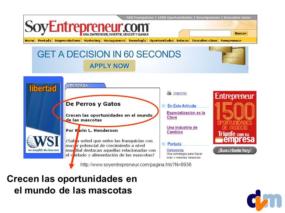 http://www.soyentrepreneur.com/pagina.hts?N=8936 Crecen las oportunidades en el mundo de las mascotas