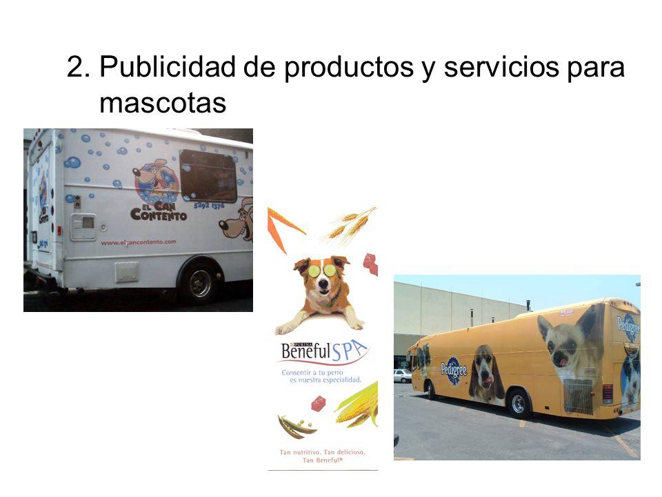 2. Publicidad de productos y servicios para mascotas