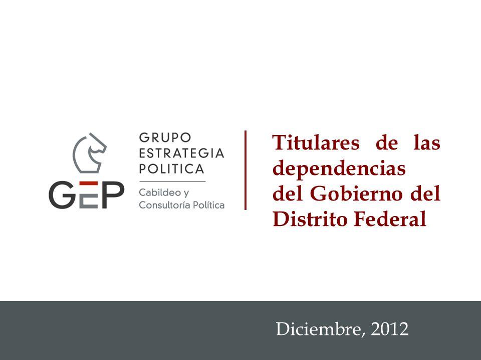1 Diciembre, 2012 Titulares de las dependencias del Gobierno del Distrito Federal