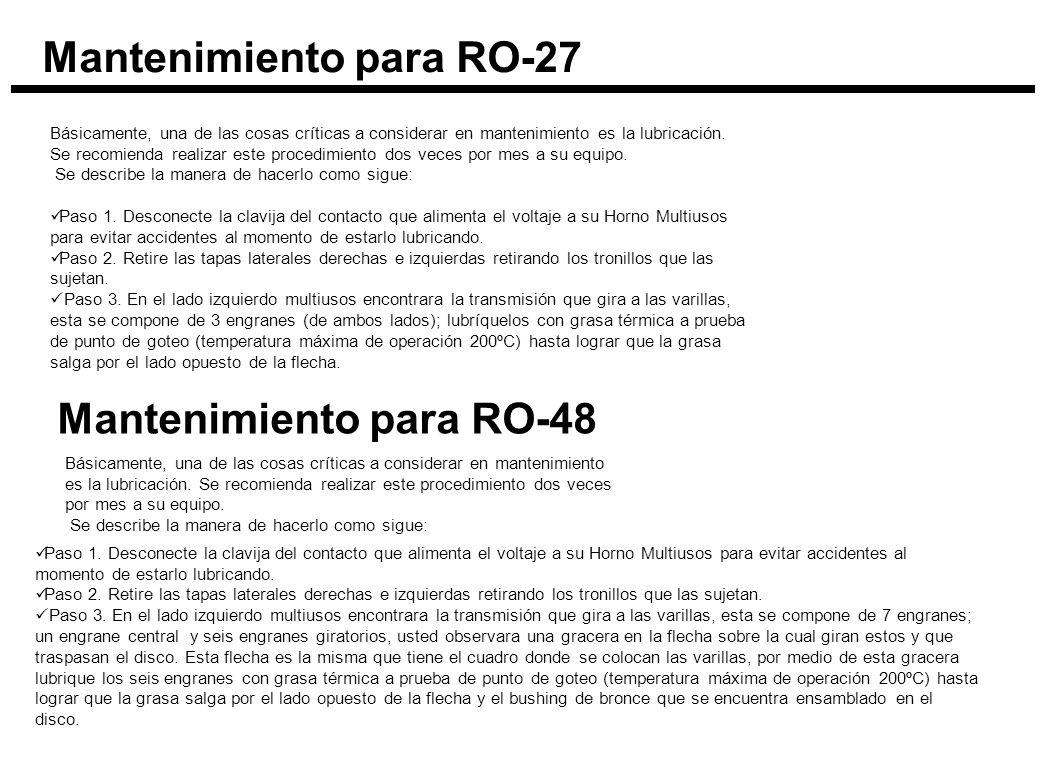 Mantenimiento para RO-27 Básicamente, una de las cosas críticas a considerar en mantenimiento es la lubricación. Se recomienda realizar este procedimi