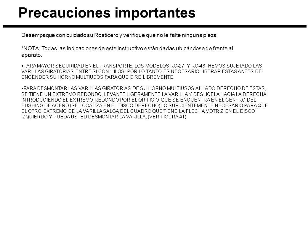 Precauciones importantes Desempaque con cuidado su Rosticero y verifique que no le falte ninguna pieza *NOTA: Todas las indicaciones de este instructi