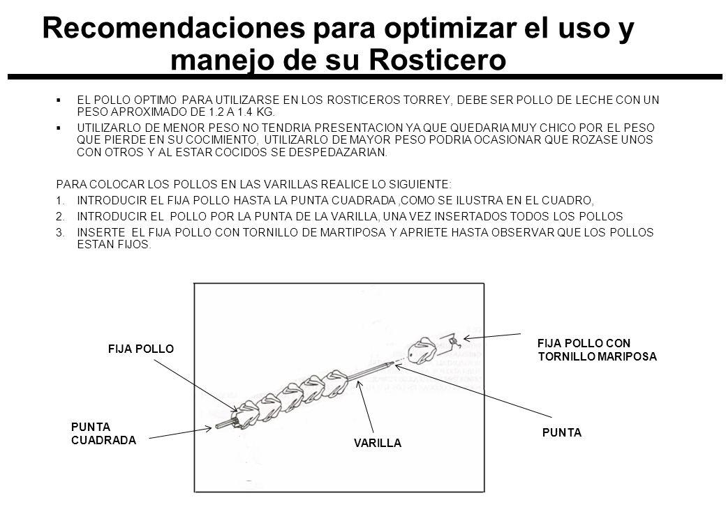 EL POLLO OPTIMO PARA UTILIZARSE EN LOS ROSTICEROS TORREY, DEBE SER POLLO DE LECHE CON UN PESO APROXIMADO DE 1.2 A 1.4 KG. UTILIZARLO DE MENOR PESO NO