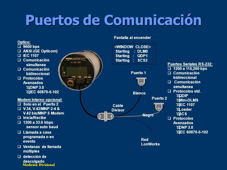 Medición Divisional Puertos de Comunicación Modem Interno opcional: Solo en el Puerto 2 V.34, V.42/MNP 2-4 & V.42 bis/MNP 5 Modem Inicia/Recibe 1200 a