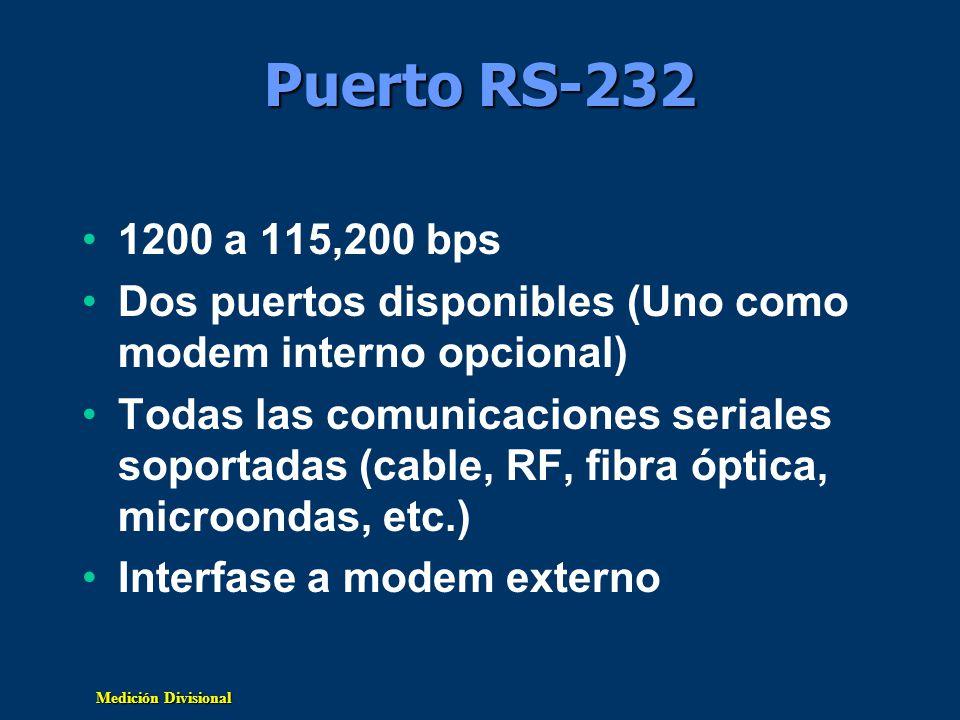 Medición Divisional Puerto RS-232 1200 a 115,200 bps Dos puertos disponibles (Uno como modem interno opcional) Todas las comunicaciones seriales sopor