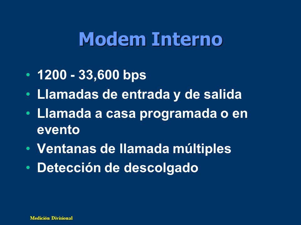 Medición Divisional Modem Interno 1200 - 33,600 bps Llamadas de entrada y de salida Llamada a casa programada o en evento Ventanas de llamada múltiple