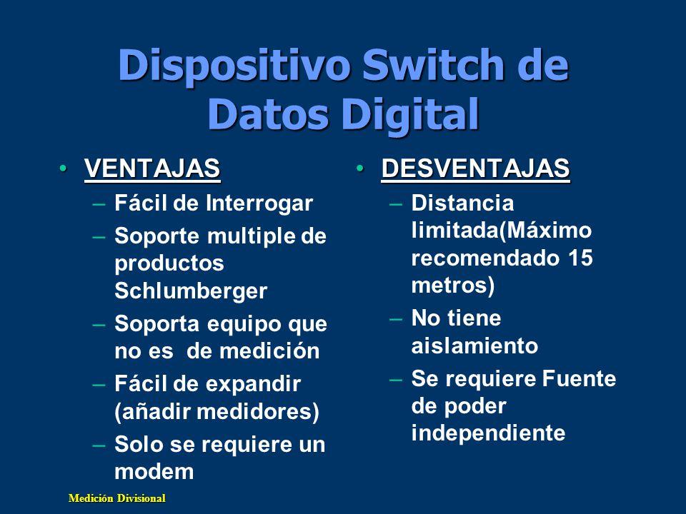 Medición Divisional Dispositivo Switch de Datos Digital VENTAJASVENTAJAS –Fácil de Interrogar –Soporte multiple de productos Schlumberger –Soporta equ