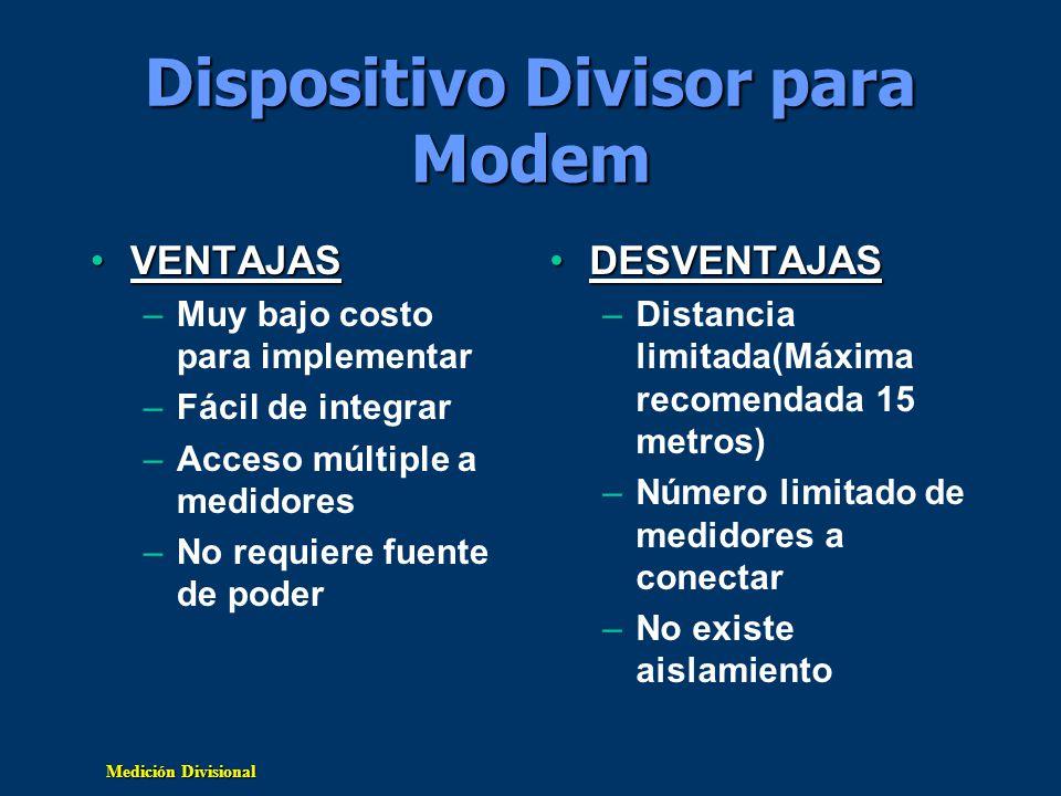 Medición Divisional Dispositivo Divisor para Modem VENTAJASVENTAJAS –Muy bajo costo para implementar –Fácil de integrar –Acceso múltiple a medidores –