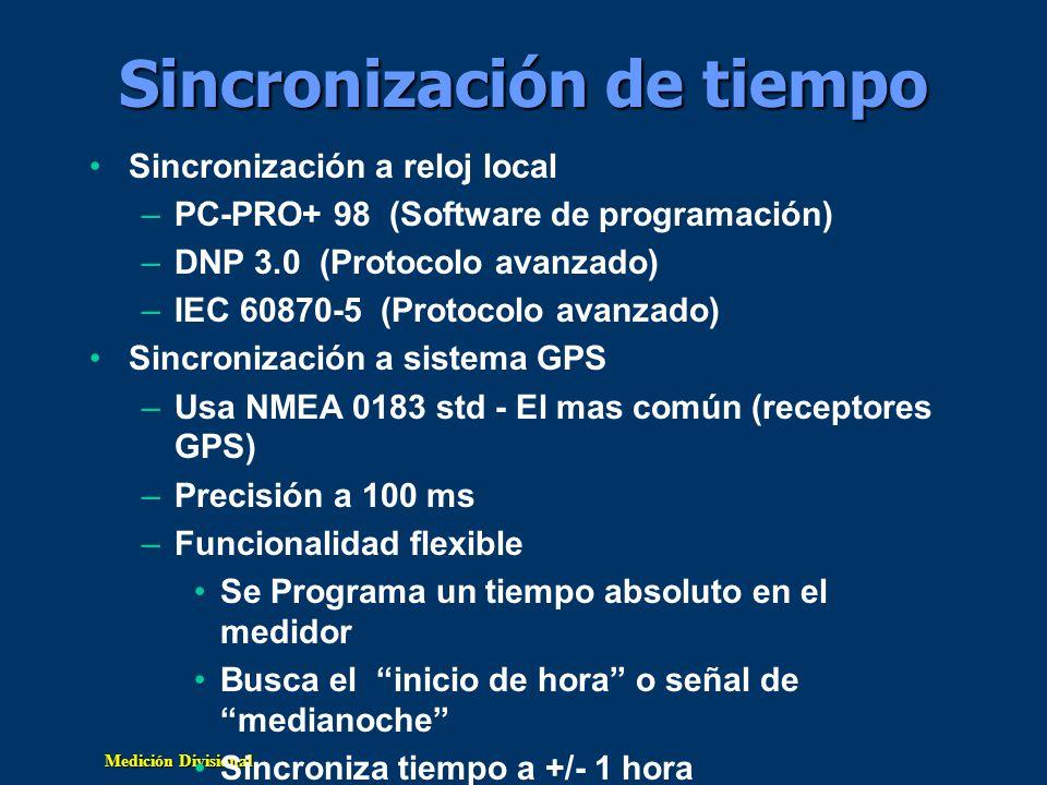 Medición Divisional Sincronización de tiempo Sincronización a reloj local –PC-PRO+ 98 (Software de programación) –DNP 3.0 (Protocolo avanzado) –IEC 60