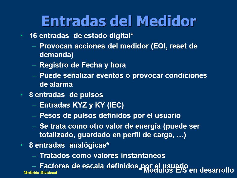 Medición Divisional Entradas del Medidor 16 entradas de estado digital* –Provocan acciones del medidor (EOI, reset de demanda) –Registro de Fecha y ho