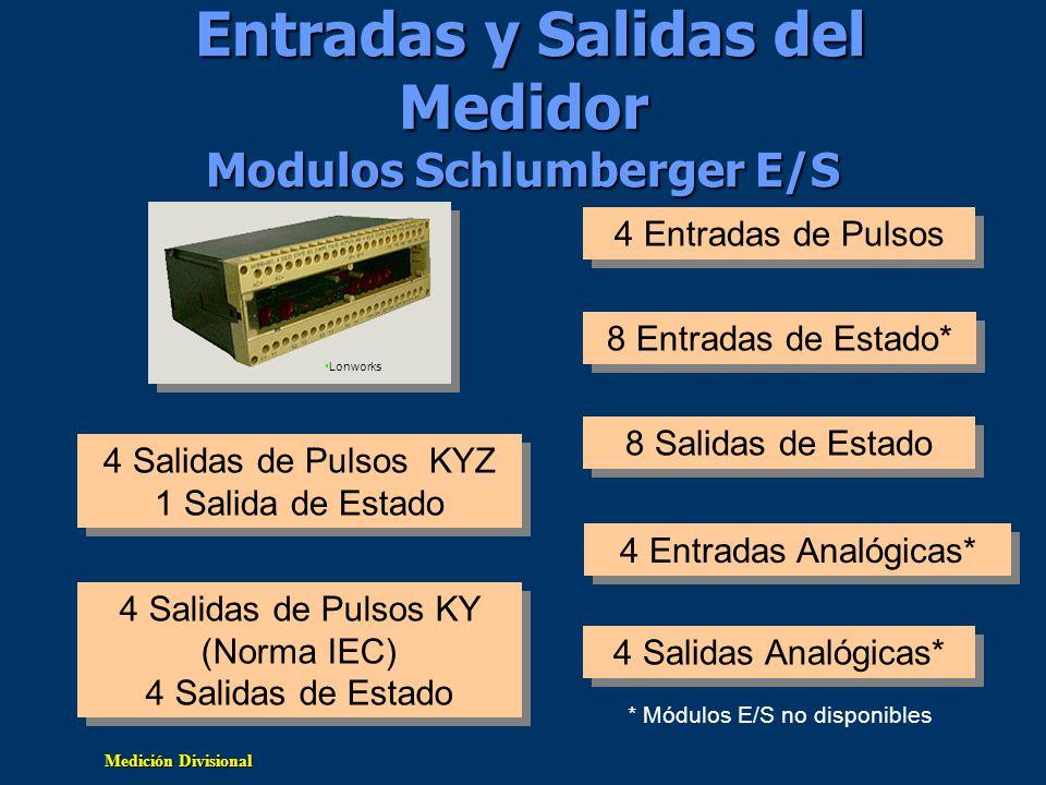 Medición Divisional Entradas y Salidas del Medidor Modulos Schlumberger E/S 4 Salidas de Pulsos KYZ 1 Salida de Estado 4 Salidas de Pulsos KYZ 1 Salid