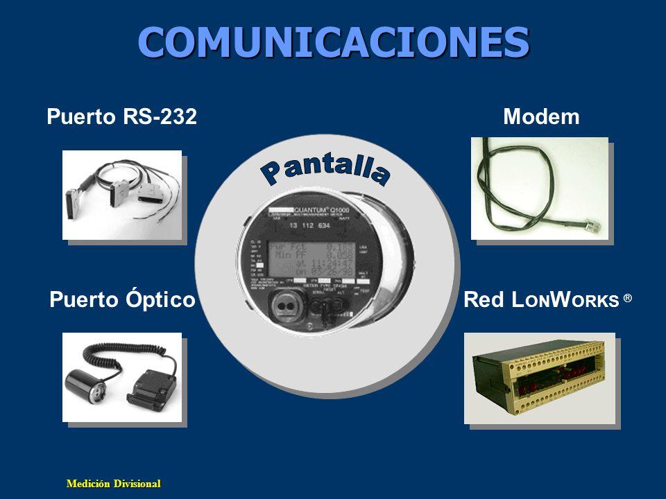 Medición Divisional Comunicaciones Características operanLos puertos de comunicación operan independientes –Se permite el uso de protocolos diferentes en cada puerto –Los puertos se comunican simultáneamente Todos los puertos son bi-direccionales Protocolos Estandar –Emulación QDIP –Mini-DLMS Protocolos avanzados –DNP 3.0 –IEC 60870-5-102 –Desarrollos futuros