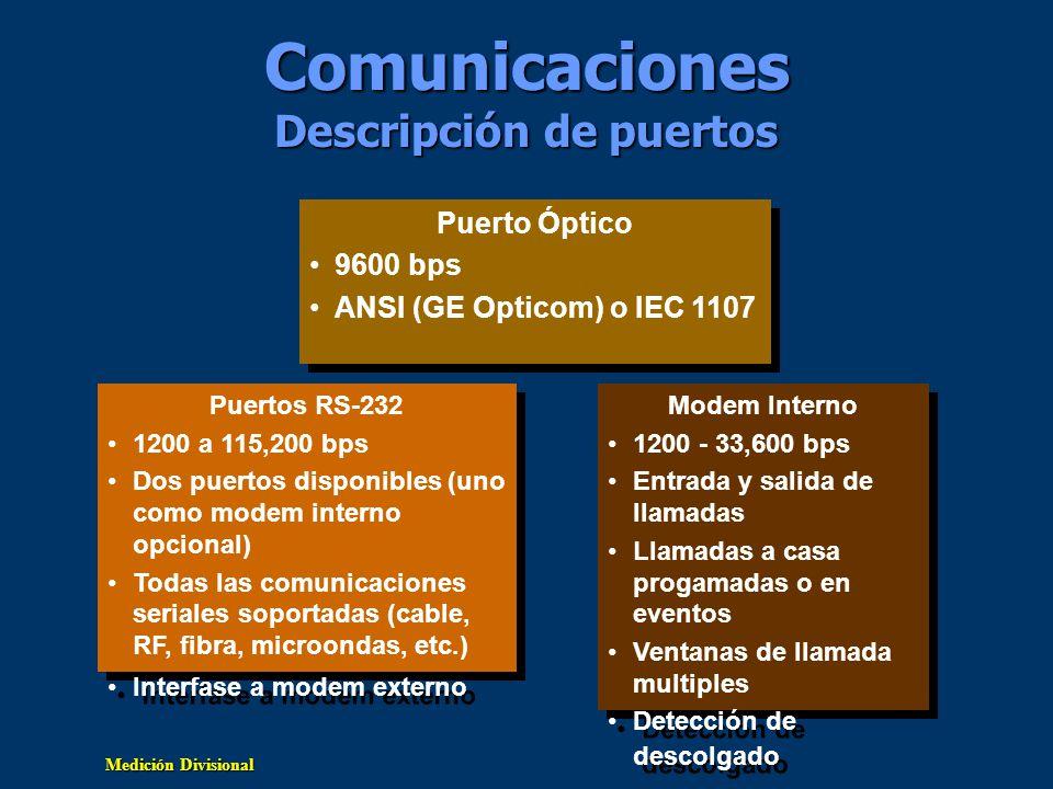 Medición Divisional Puertos de Comunicación Modem Interno opcional: Solo en el Puerto 2 V.34, V.42/MNP 2-4 & V.42 bis/MNP 5 Modem Inicia/Recibe 1200 a 33.6 kbps sensor auto baud Llamada a casa programada o en evento Ventanas de llamada múltiples detección de descolgado Red LonWorks Puertos Seriales RS-232: 1200 a 115,200 bps Comunicación bidireccional Comunicación simultanea Protocolos std.