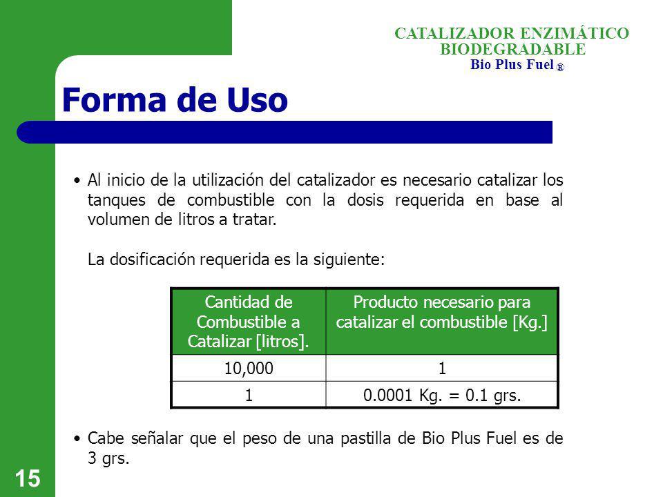BIODEGRADABLE Bio Plus Fuel ® CATALIZADOR ENZIMÁTICO 15 Forma de Uso Al inicio de la utilización del catalizador es necesario catalizar los tanques de