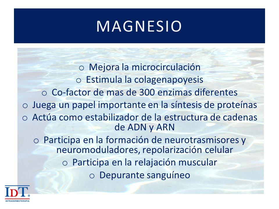 MAGNESIO o Mejora la microcirculación o Estimula la colagenapoyesis o Co-factor de mas de 300 enzimas diferentes o Juega un papel importante en la sín