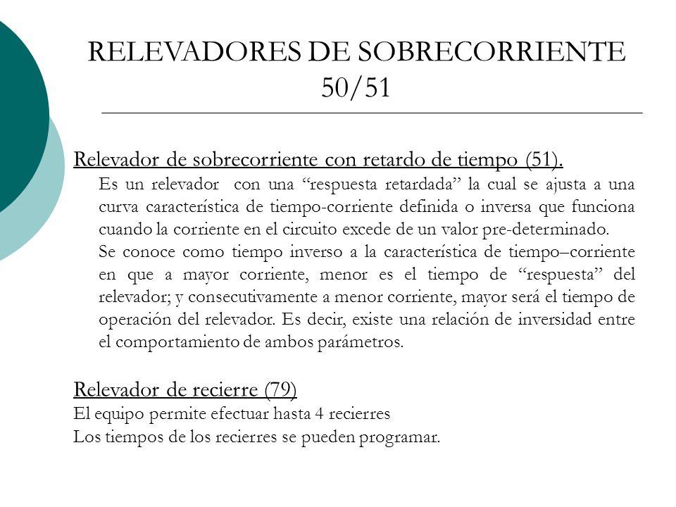 Relevador de sobrecorriente con retardo de tiempo (51).
