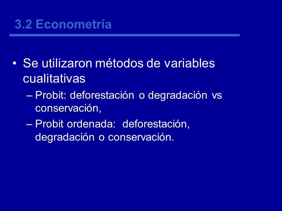 3.2 Econometría Se utilizaron métodos de variables cualitativas –Probit: deforestación o degradación vs conservación, –Probit ordenada: deforestación, degradación o conservación.