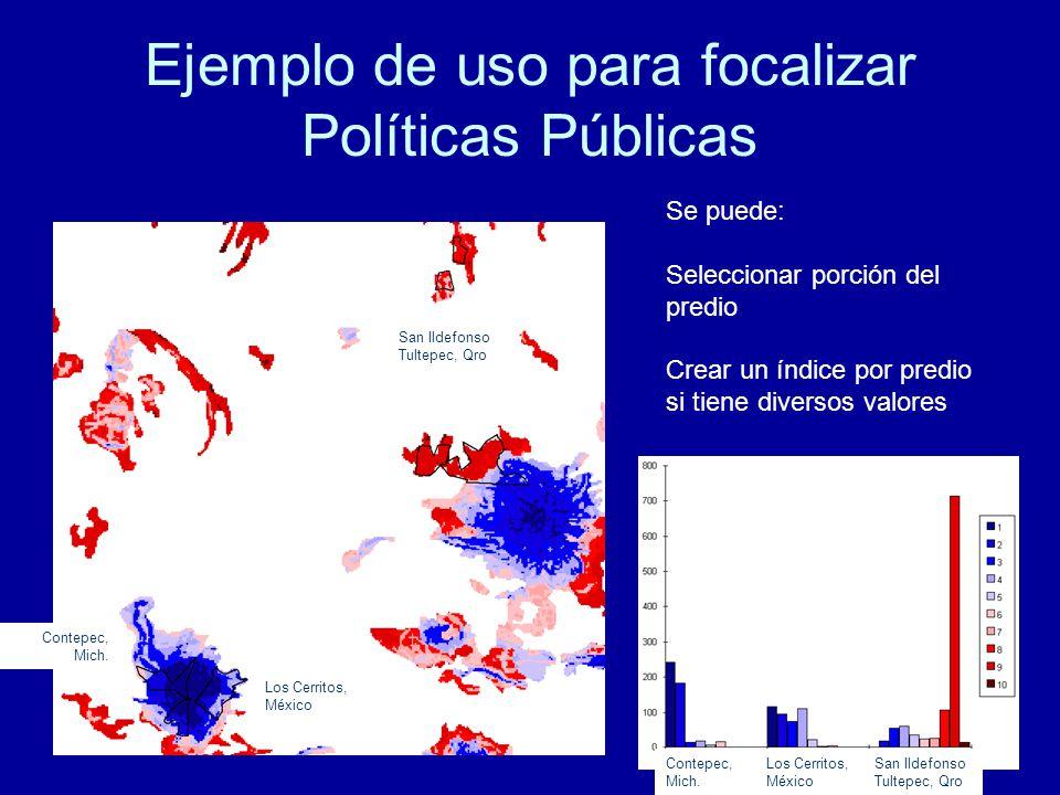 Ejemplo de uso para focalizar Políticas Públicas Se puede: Seleccionar porción del predio Crear un índice por predio si tiene diversos valores San Ildefonso Tultepec, Qro Contepec, Mich.