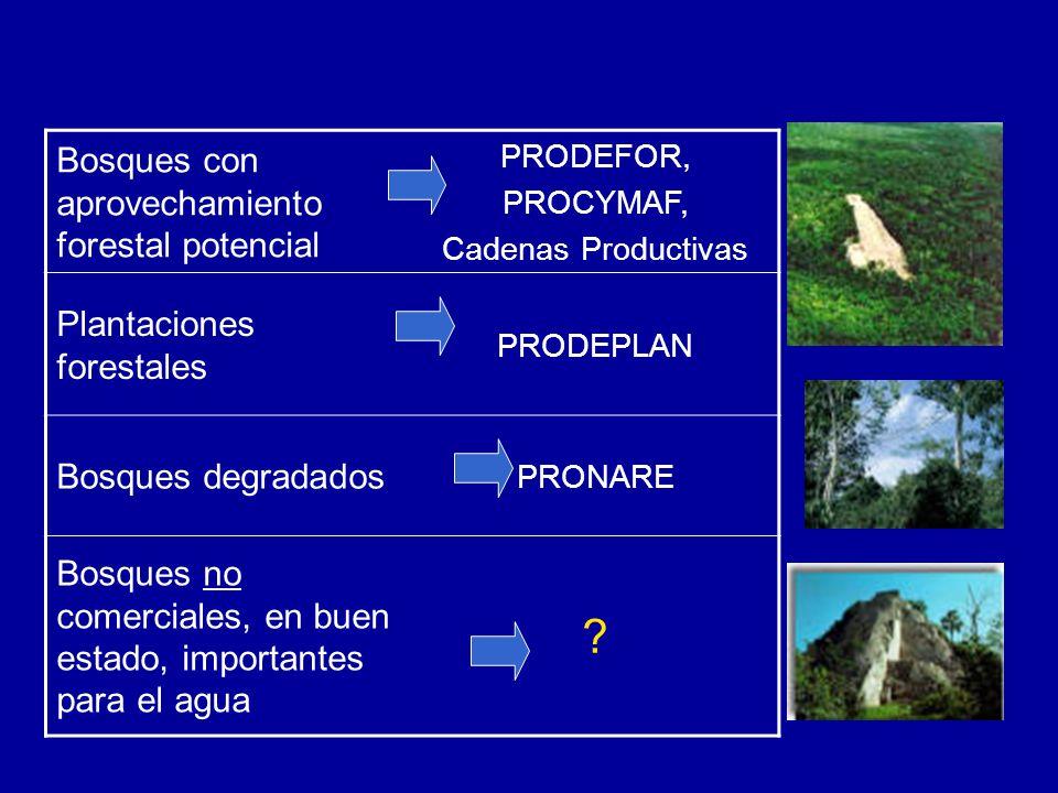 Bosques con aprovechamiento forestal potencial PRODEFOR, PROCYMAF, Cadenas Productivas Plantaciones forestales PRODEPLAN Bosques degradados PRONARE Bosques no comerciales, en buen estado, importantes para el agua ?