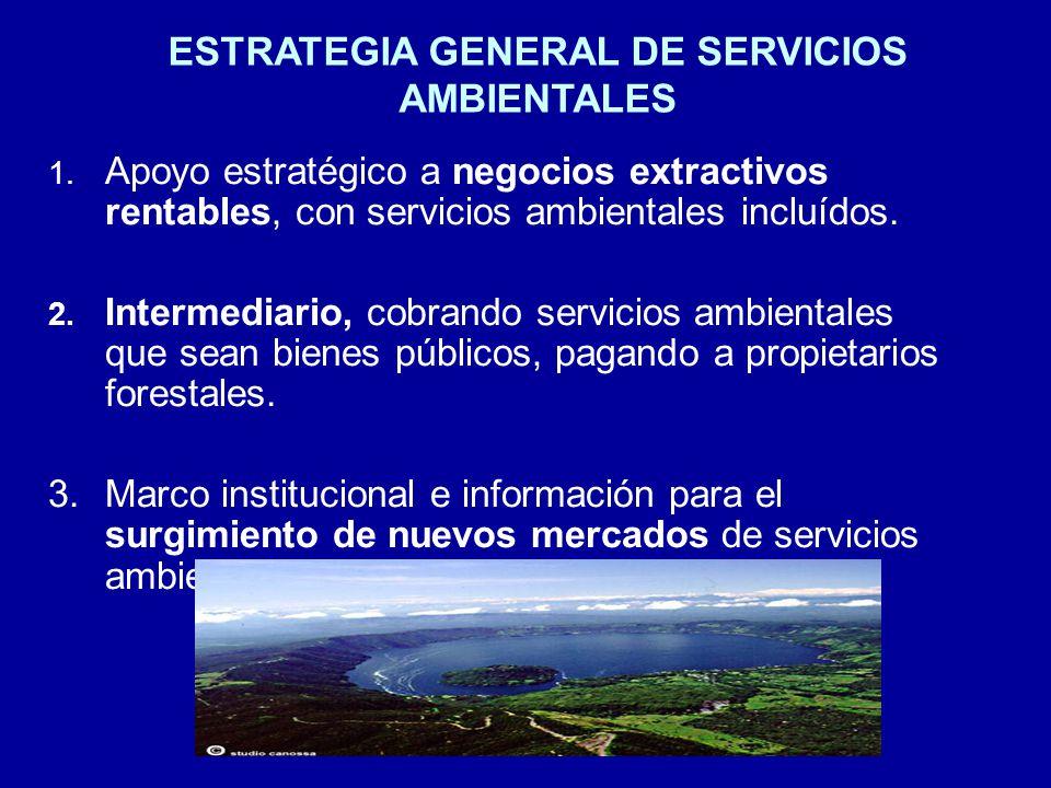 1.Apoyo estratégico a negocios extractivos rentables, con servicios ambientales incluídos.