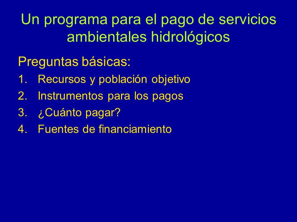Un programa para el pago de servicios ambientales hidrológicos Preguntas básicas: 1.Recursos y población objetivo 2.Instrumentos para los pagos 3.¿Cuánto pagar.