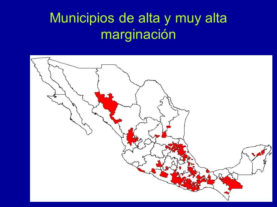 Municipios de alta y muy alta marginación